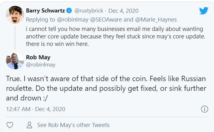 Barry nói về mặt khác của google core update