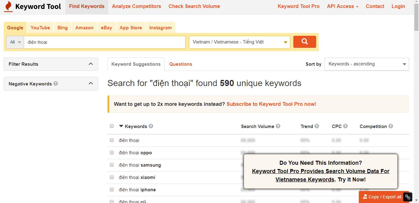 KeywordTool.io là một công cụ nghiên cứu từ khóa khá hiệu quả trong việc tìm kiếm keyword long tail