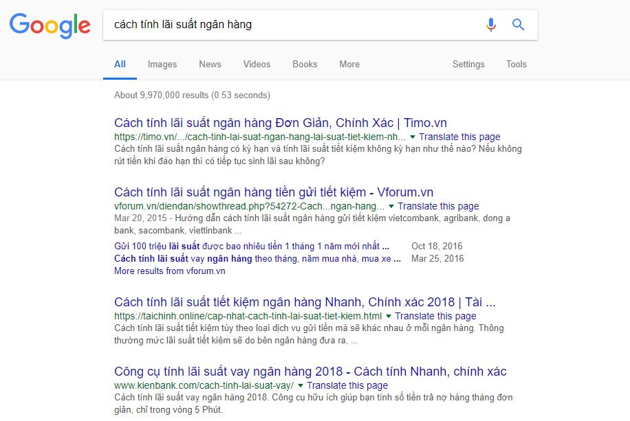 Xem xét ranking trên Google