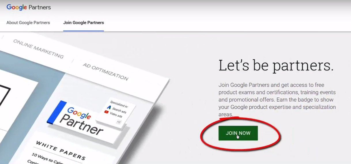 step 1 google partner homepage