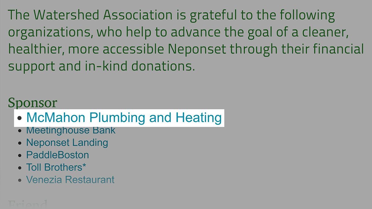 Link opportunity for McMahon Plumbing on neponset