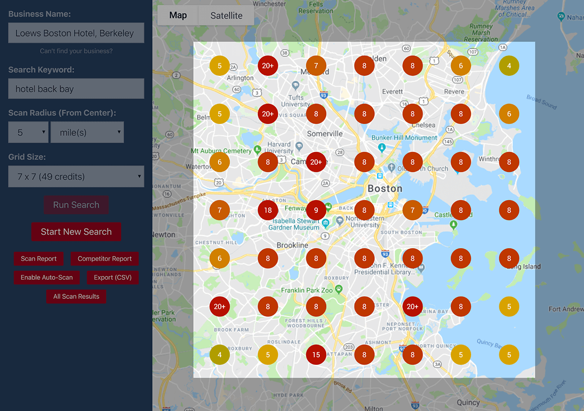 Local Falcon search results highlighted grid