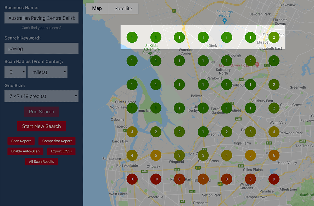 Local Falcon search results – Highlighted top row
