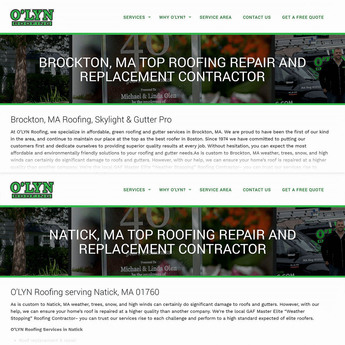 Roofing service locally optimized pages