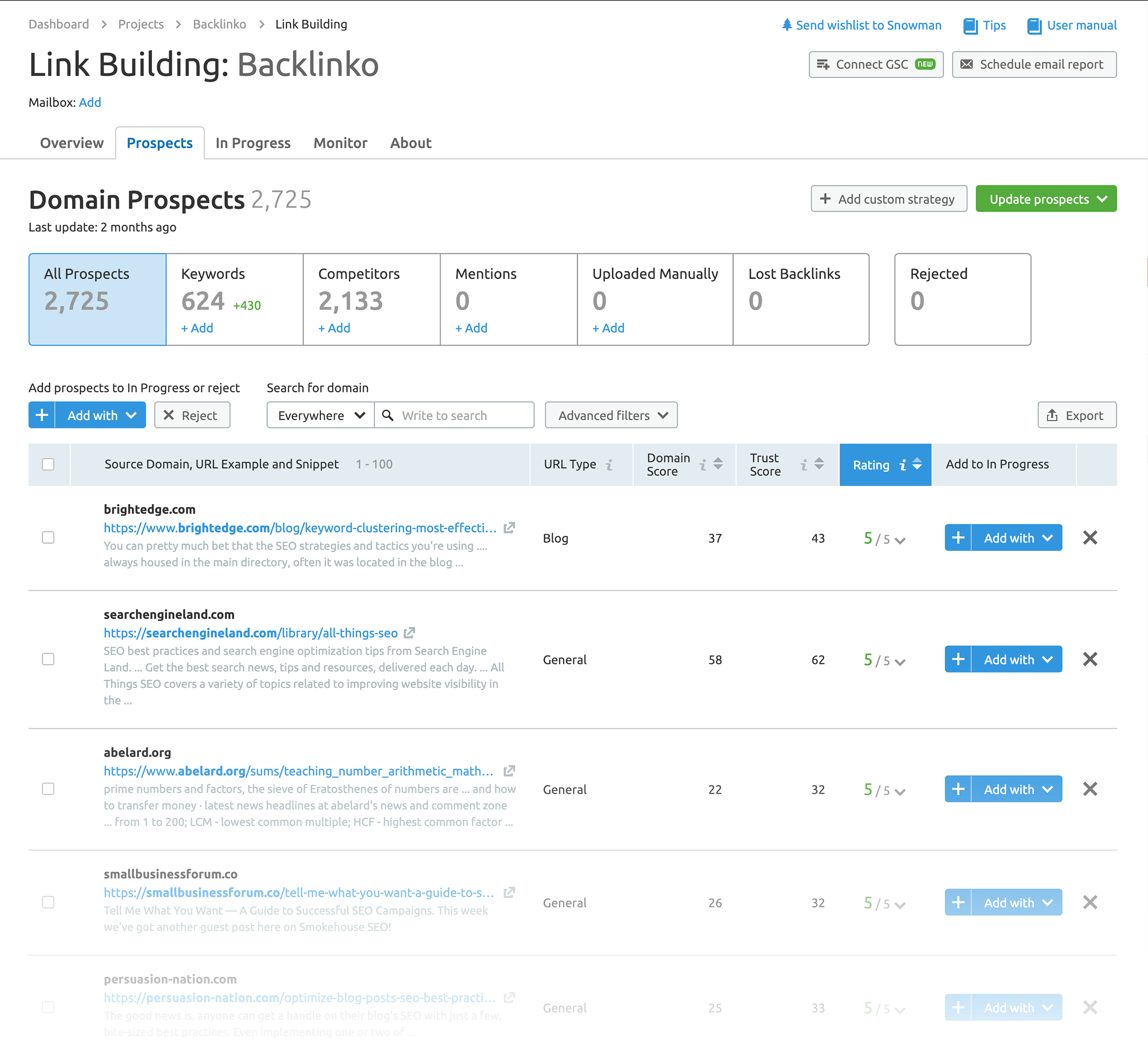 Link building tool – Results