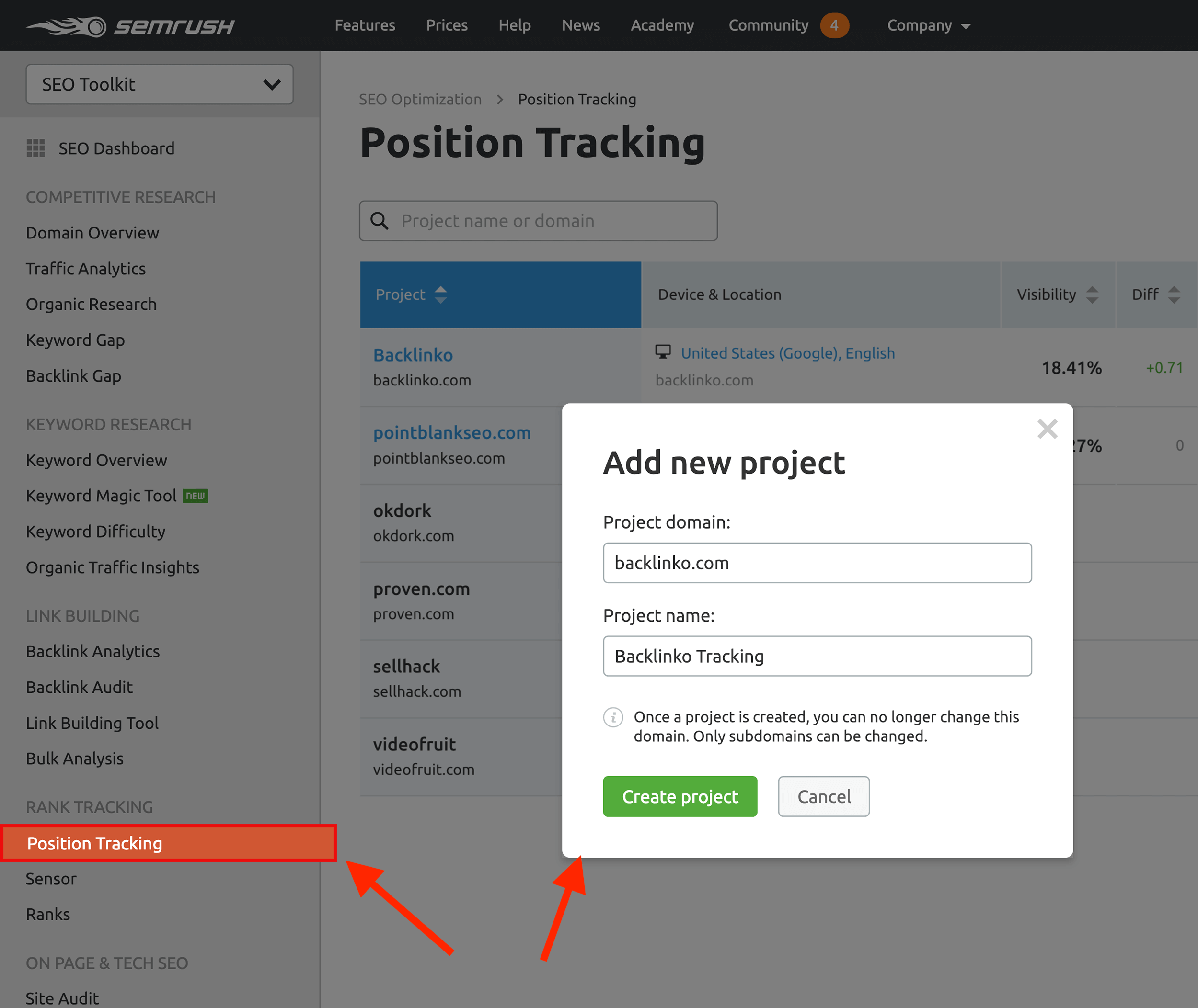 SEMRush – Position tracking – New project
