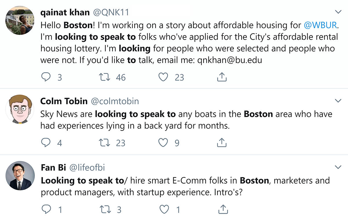 """Twitter results for """"looking to speak to"""" Boston"""