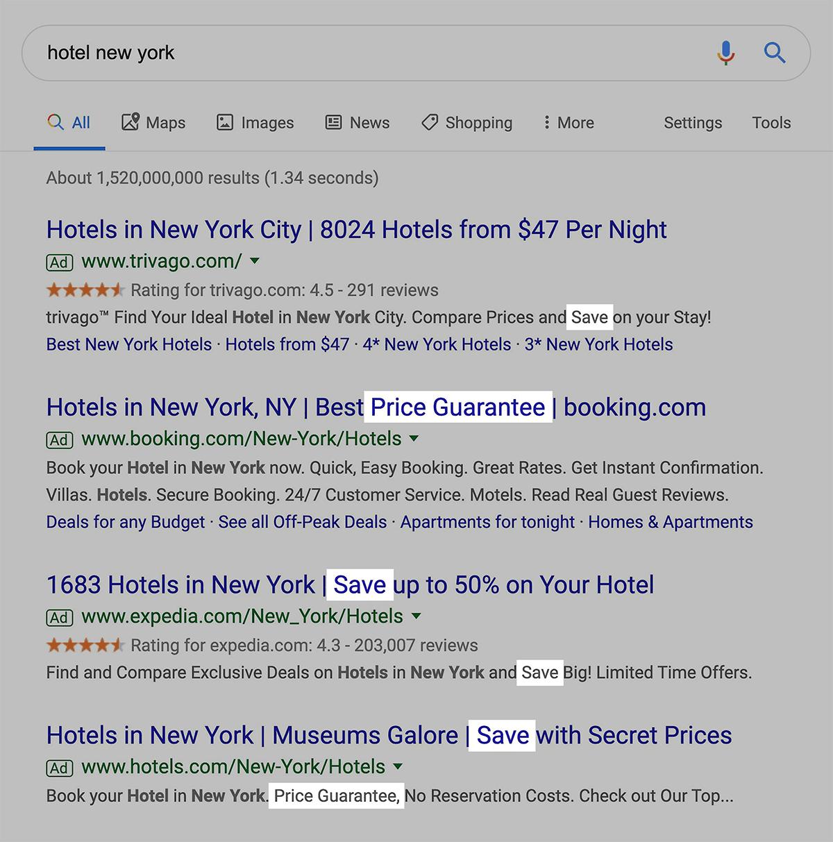 Use Google Ads for description copy