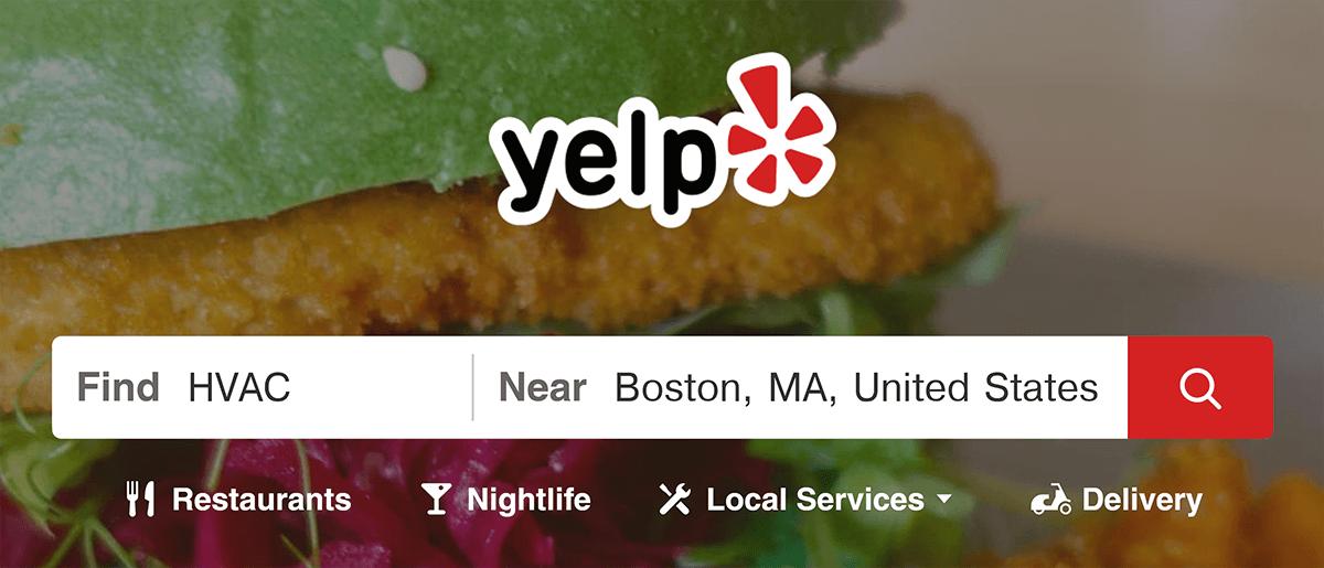 Yelp search for HVAC near Boston