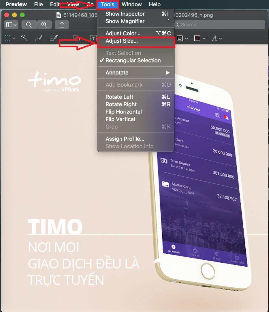 thay đổi kích thước ảnh trong MacOS