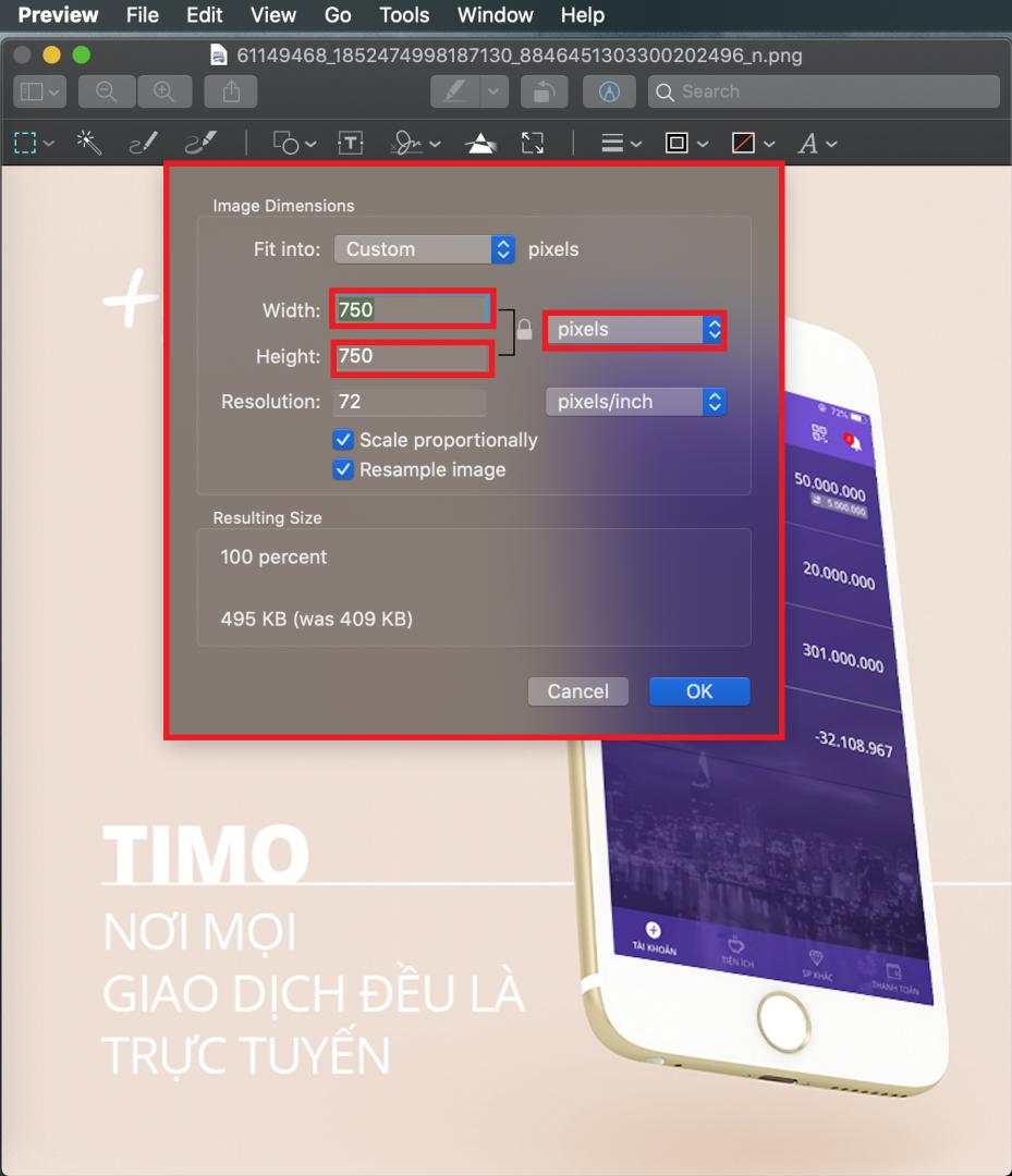 Giảm kích thước ảnh theo pixel trên MacOS