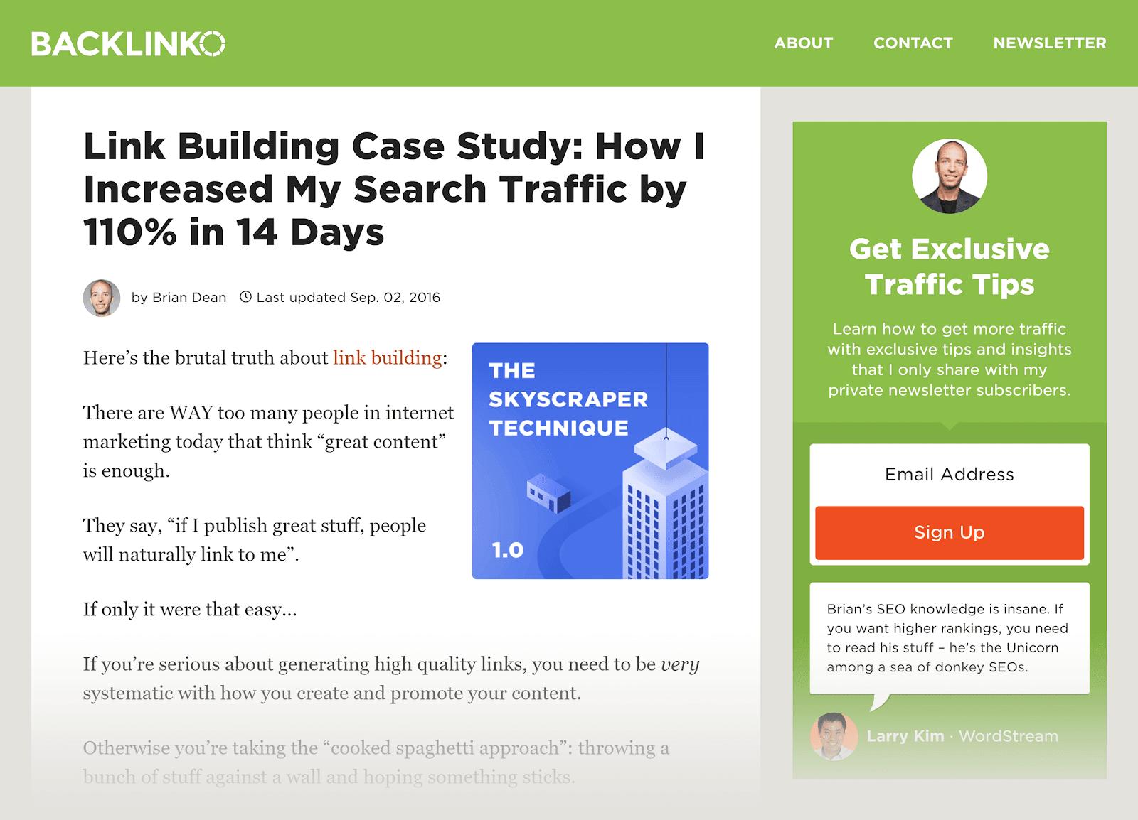 SEO content - Backlinko - Link Building Case Study