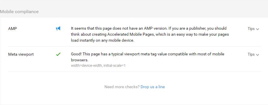Chi tiết lỗi và gợi ý AMP của SEOquake