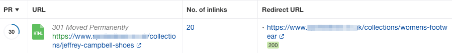 Internal links 301