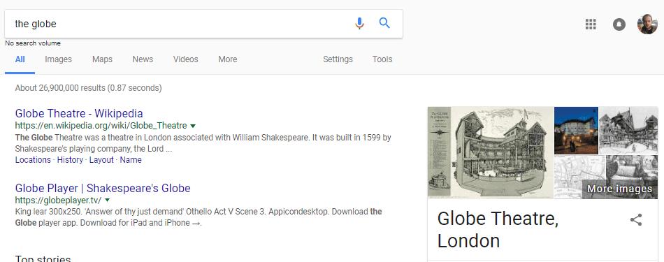 Kết quả SERP của Google cho Nhà hát Quả cầu, London trước khi cập nhật HummingBird