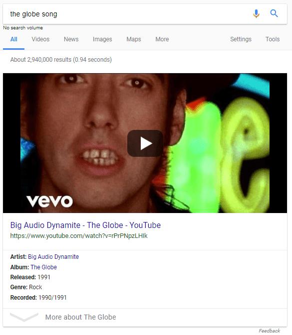 Kết quả SERP của Google cho The Globe, bài hát của Big Audio Dynamite II