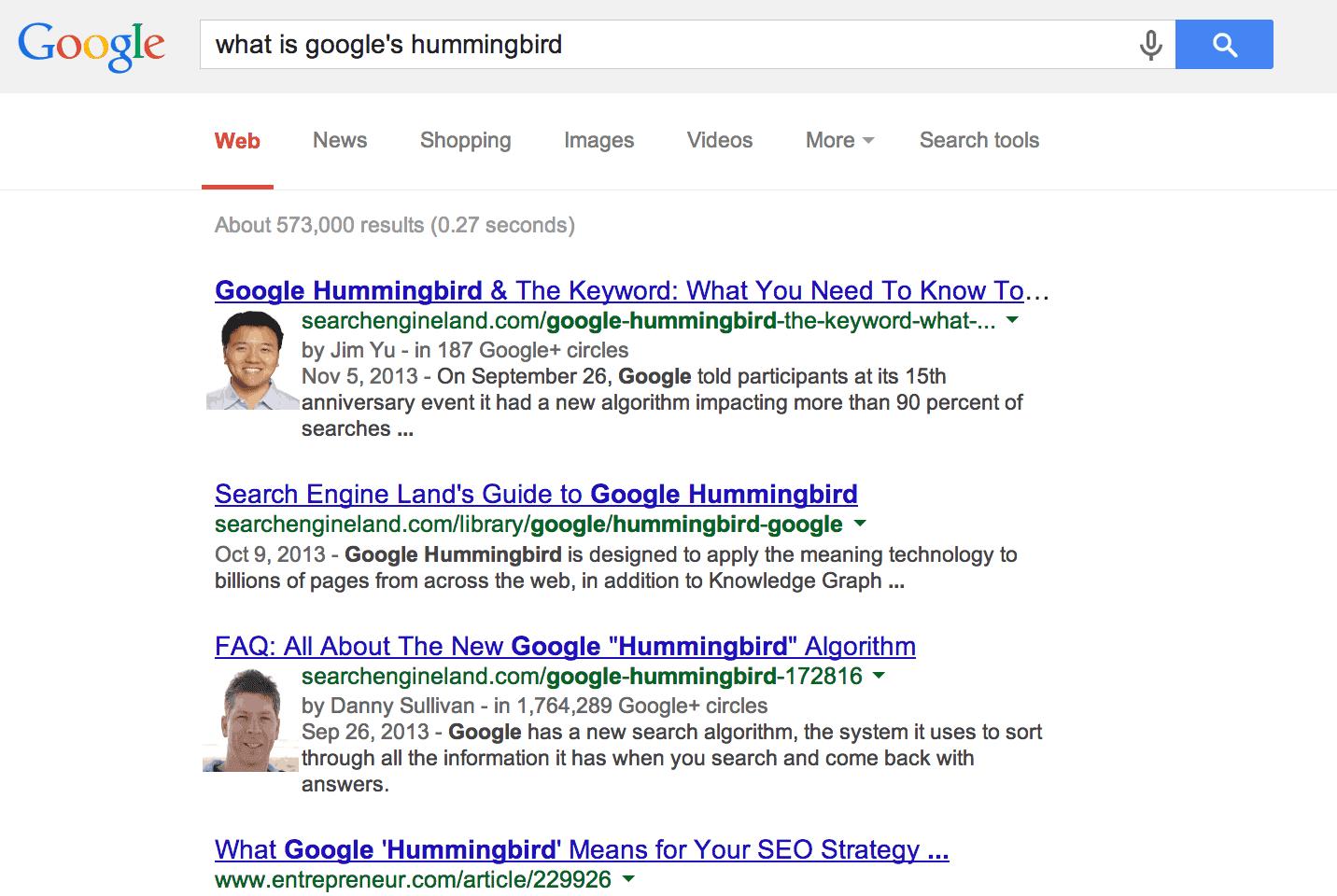 Kết quả tìm kiếm cho Google Hummingbird, 2013