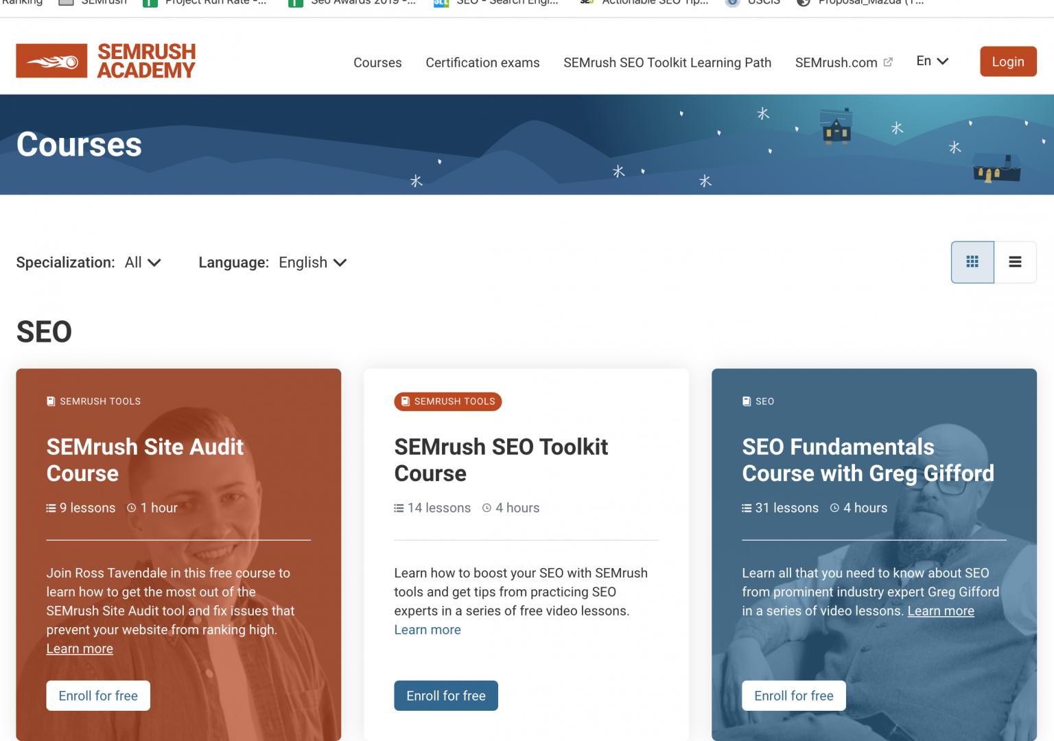 Các khoá học SEO online miễn phí từ SEMrush