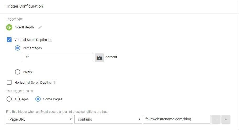 Trình kích hoạt Cuộn trang trong Google Tag Manager