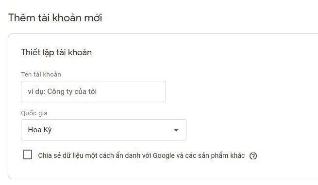 Cách thiết lập tài khoản trong Google Tag Manager