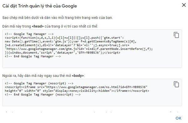 Mã cài đặt của Google Tag Manager vào mã nguồn trang web