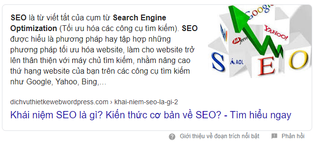 Featured snippets trên SERP