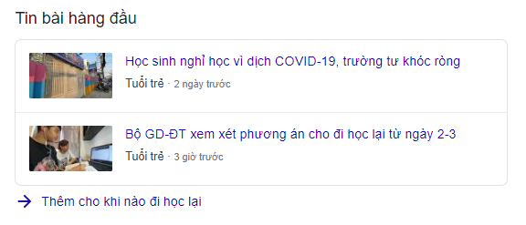 Top Stories trên SERP