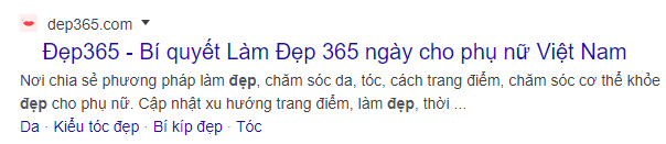 Thẻ Meta description của Đẹp 365