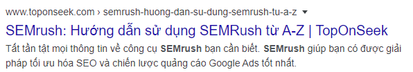 Từ khóa Semrush được tô đậm lên khi tìm kiếm trong meta description