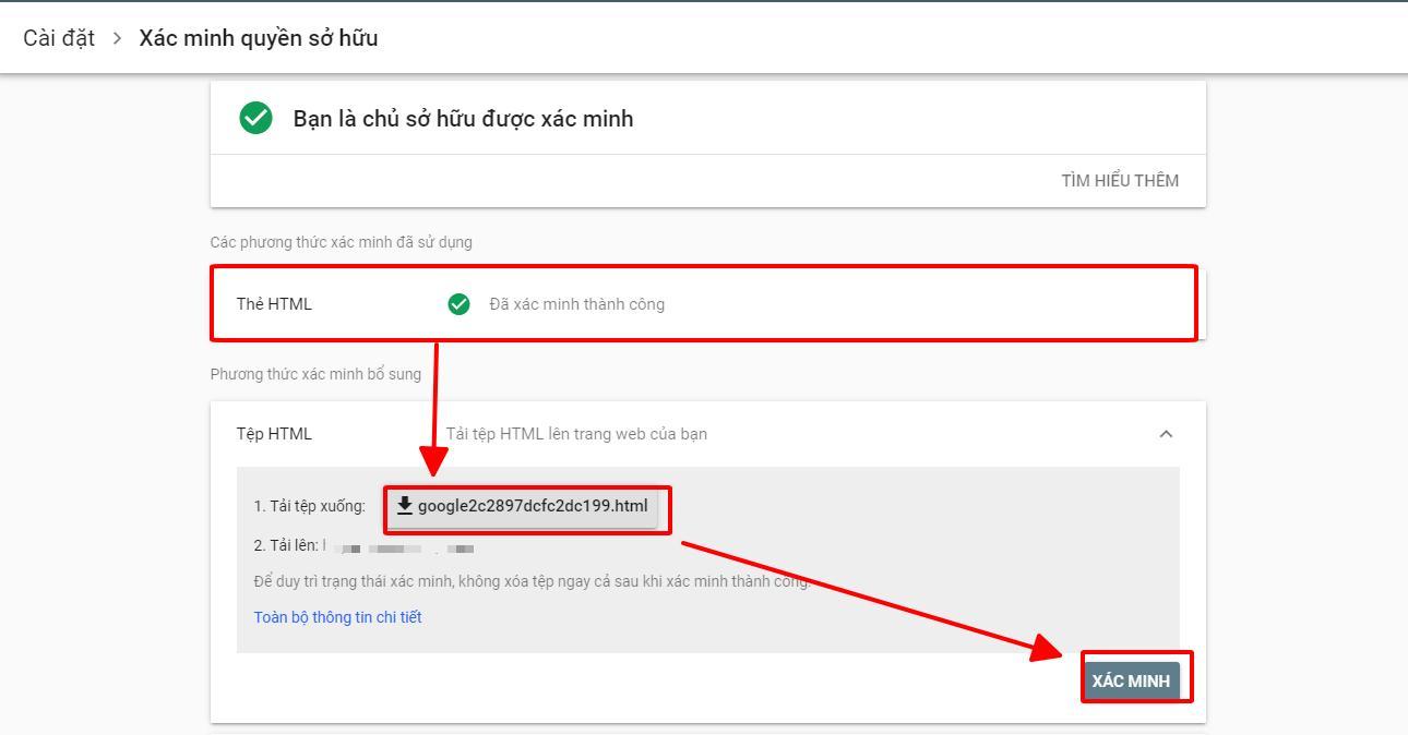 Xác minh sở hữu Google Webmaster Tool bằng tải tệp HTML
