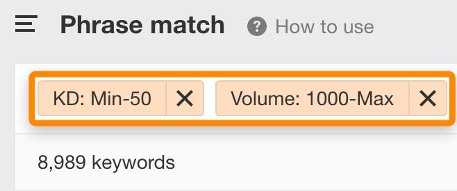 hãy lọc ra các từ khóa siêu cạnh tranh và các từ khóa có ít hoặc không có lượng tìm kiếm.