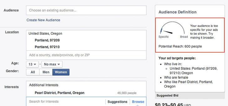 Giao diện quảng cáo trả phí của Facebook