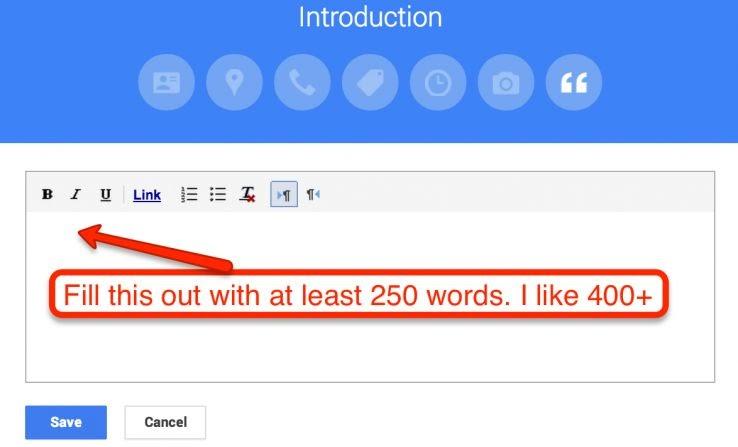 Bạn nên có một mô tả giới thiệu không spam. Đây phải là nội dung độc đáo và hơn 250 từ nếu có thể.