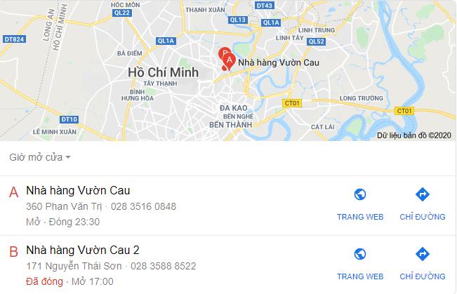 tìm kiếm cho một nhà hàng cụ thể, có thể trả về bảng kiến thức bao gồm địa chỉ nhà hàng, số điện thoại, trang web và giờ tham quan.