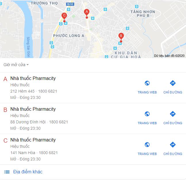 """tìm kiếm """"pharmacy"""" có thể trả lại một gói địa phương hiển thị vị trí của các hiệu thuốc gần nhất và thông tin liên hệ của họ."""