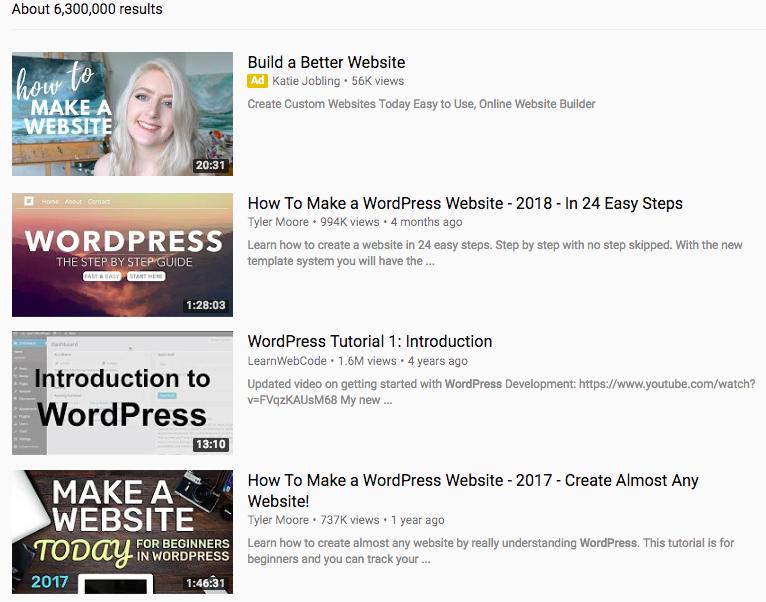 Video WordPress trên YouTube