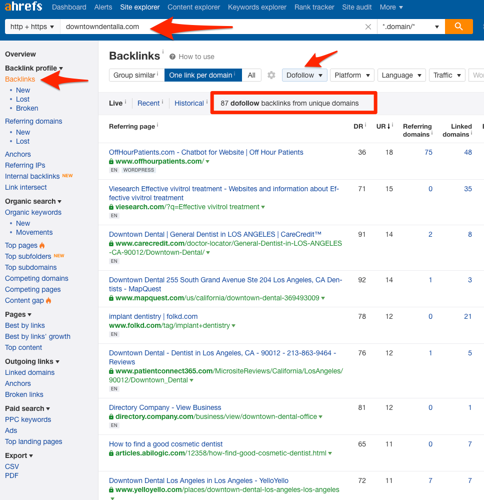 xây dựng backlink - Ahrefs