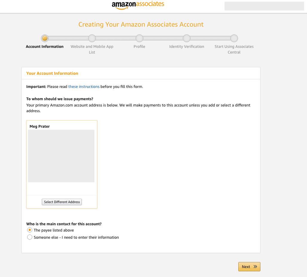 Amazon Affiliate Program sign up Step 1