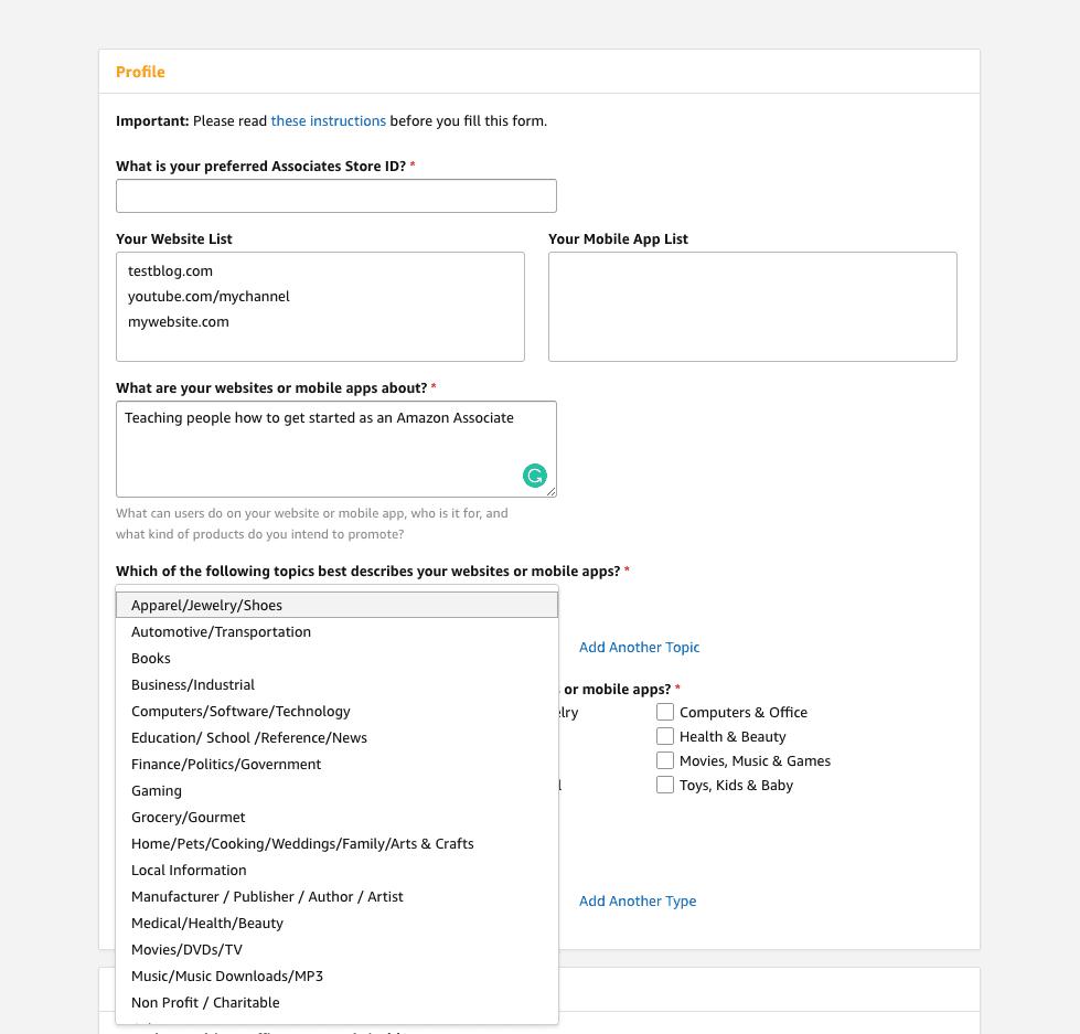 Amazon Affiliate Program sign up Step 3