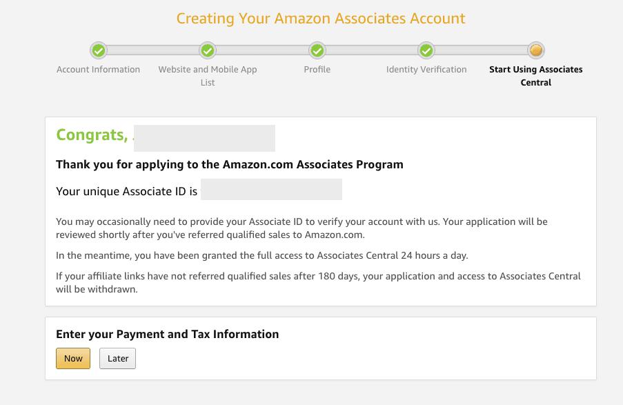 Associate Program sign up Step 6