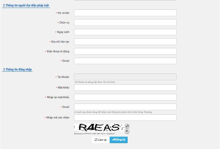 Điền thông tin để đăng ký website với Bộ Công Thương