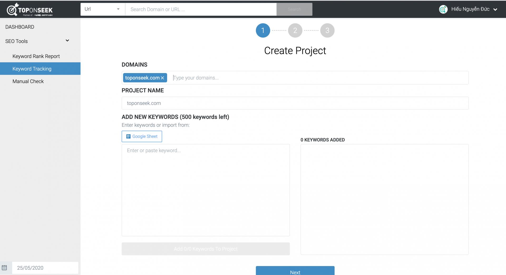 Nhập domain và tên dự án cần theo dõi.