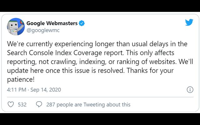 Tweet của Google xác nhận sự cố lỗi công cụ Search Console