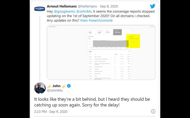 Tweet của John Mueller (Google) xác nhận sự cố lỗi công cụ Search Console
