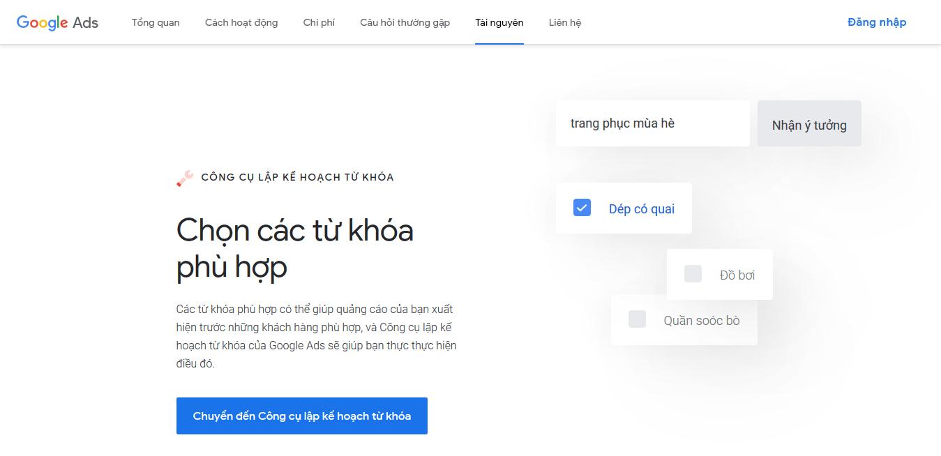 Giới thiệu công cụ Google's Keyword Planner