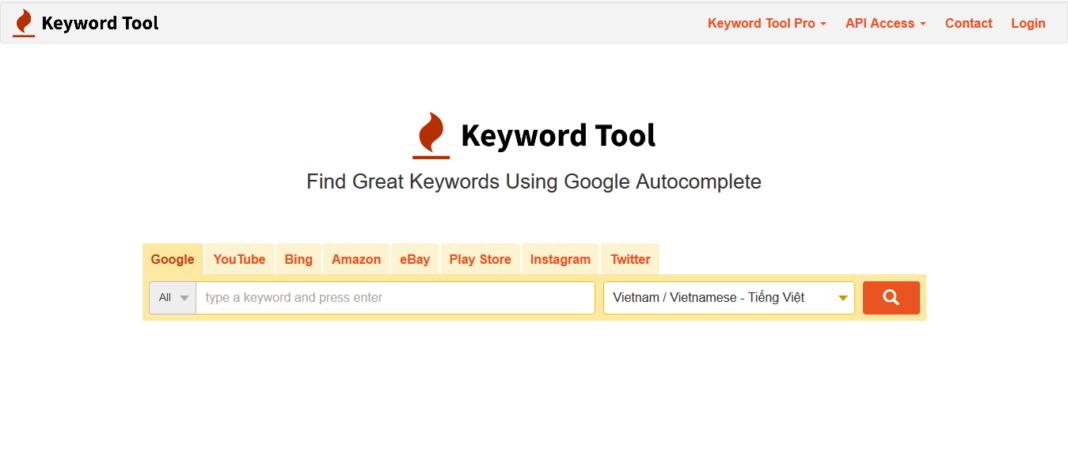 Giao diện website nghiên cứu từ khóa Keywordtool.io