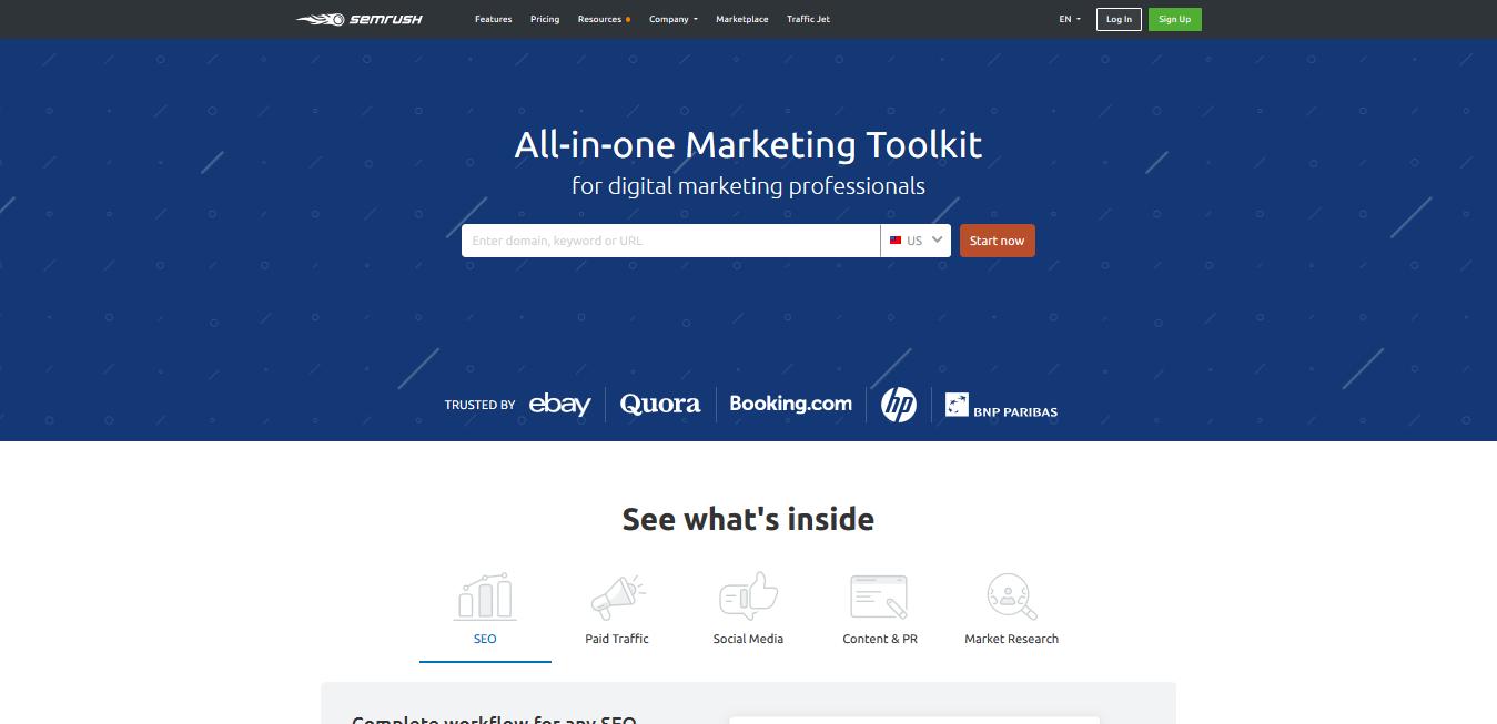Giao diện website SEMrush cung cấp bộ công cụ SEO