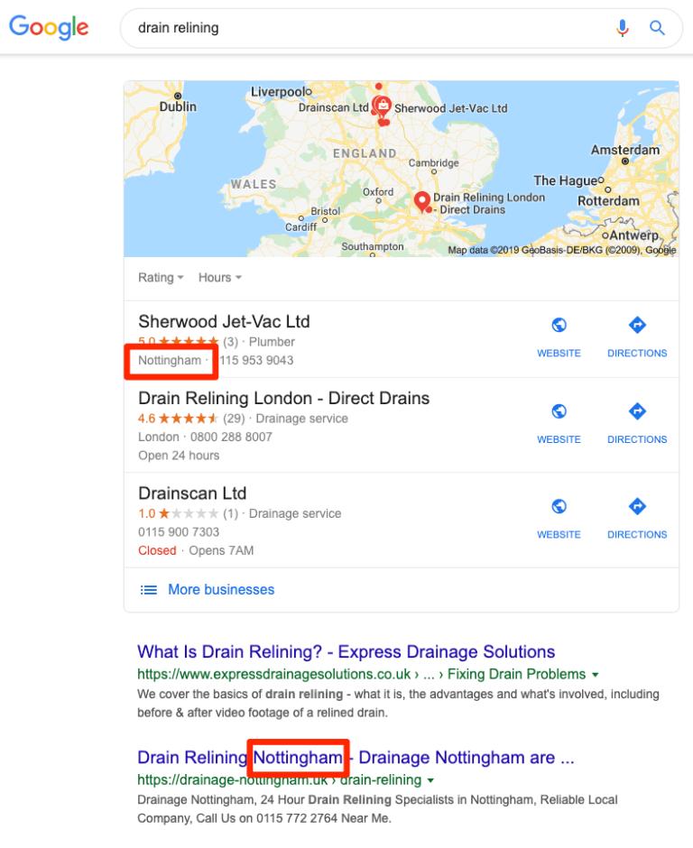 Kết quả tìm kiếm dịch vụ thoát nước trên Google