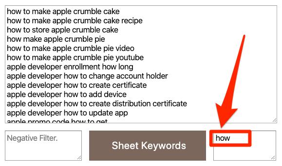 Bộ lọc của công cụ tìm kiếm từ khóa Keyword Sheeter