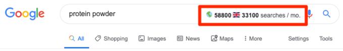 Số lượt tìm kiếm toàn cầu theo Keyword Surfer ước tính